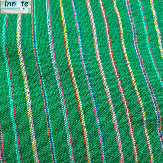 Green Mexican fabric Cambaya with stripes  by InnateArtisanShop