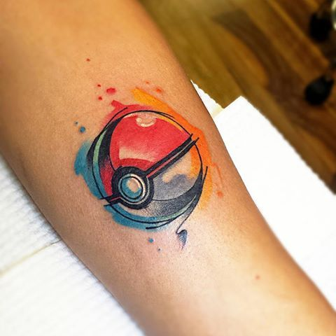 Image result for watercolor pokeball tattoo
