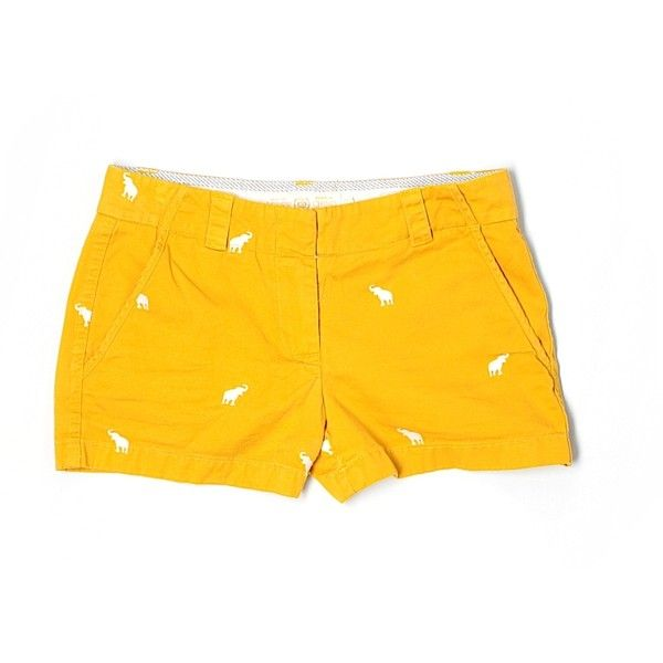 Pre-owned J. Crew Shorts Size 0: Gold Women's Bottoms ($15) ❤ liked on Polyvore featuring shorts, gold, gold shorts and j. crew shorts