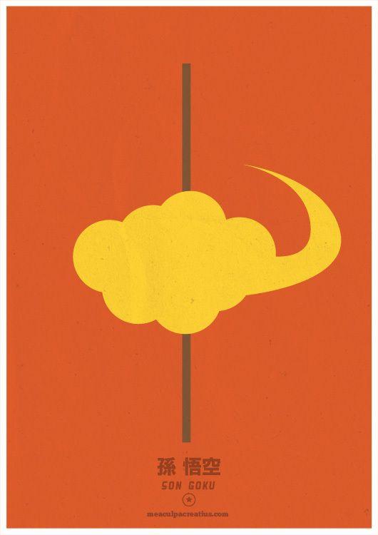Pósters minimalistas de Dragon Ball, diseños de MeaCulpa Creatius.