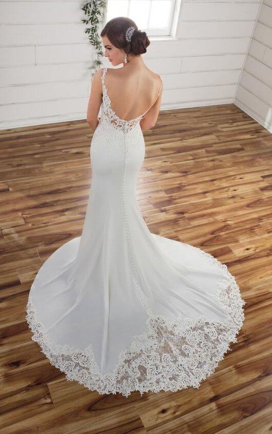 D2332 Sleek Backless Wedding Gown by Essense of Australia