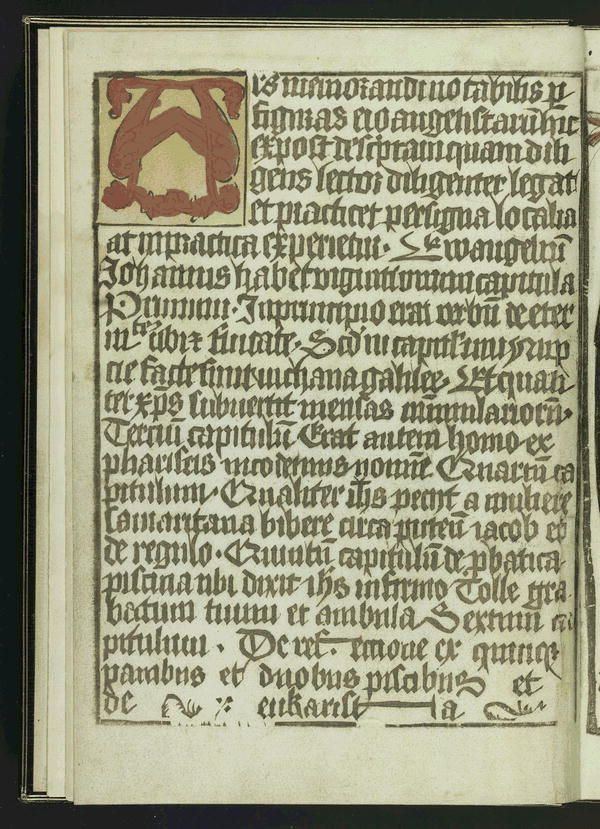 Block book. Printed in brown ink on one side of leaves only, on versos and rectos alternately, so that pairs of printed and blank pages alternately face each other. Of each printed pair, one is text, the other illus. Designed to aid in remembering the Gospels by means of symbols. Schreiber, W.L.  Handbuch (3. Aufl.), IV, p. 134-145 Rosenwald 21 LC copy: illus. and initials hand-colored. From leaf [2] to [29] the blank sides are pasted together. Provenance: Bishop Butler, Holford. Also…