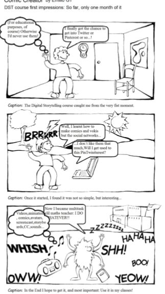 Comic about my feelings about the INTEF DST course. Created using http://www.readwritethink.org/files/resources/interactives/comic/index.html