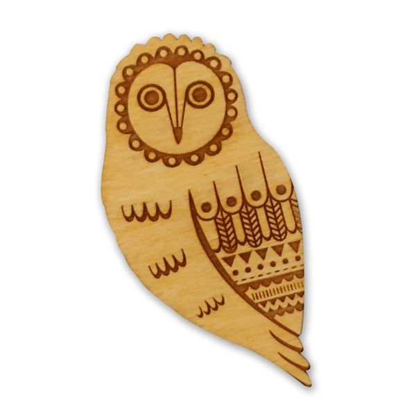 Layla Amber woodlands collection owl broche wood 3x6 cm houten broche uil