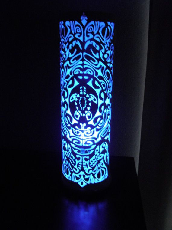 Ancient Maori tribal art table lamp. Ta Moka. by GlowingArt
