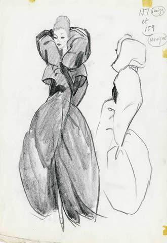 Bosquejo de Balenciaga de un vestido de 1962