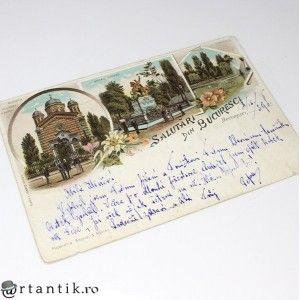 carte postala 1898 - Salutari din Bucuresci - circulata international