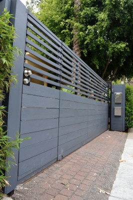Los Angeles, Santa Monica Fence, Driveway Gate, Wooden Gate