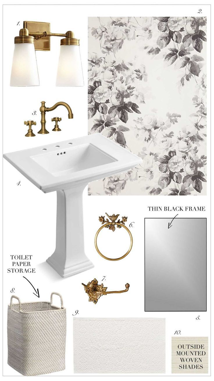 Small Half Bath Powder Room Design Idea with Black and White Floral Wallpaper and Brass Accents #powderroom #halfbath #powerroomdesign #bathroomdesign #bathroomideas #wallpaperideas #bathroomwallpaper