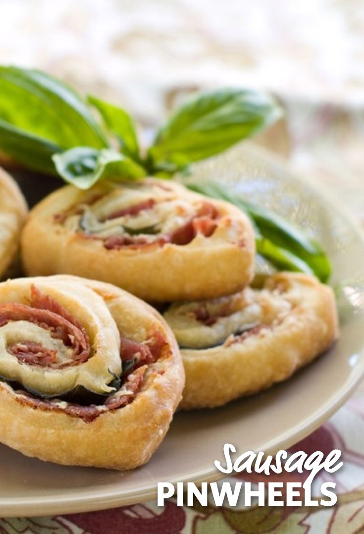 Sausage Pinwheels: Crescent rolls stuffed with sausage centers and cream cheese make for a delicious combination that will disappear from the plate for your next breakfast or brunch. #FoodLion