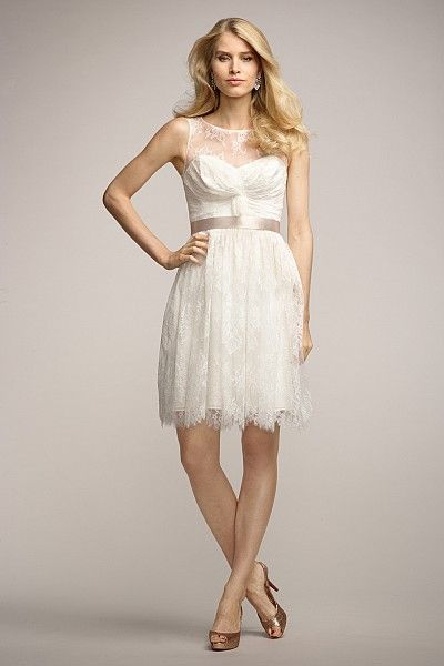 Sleeveless      Pleated knot at bodice      Shirred above the knee length skirt      Also available floor length