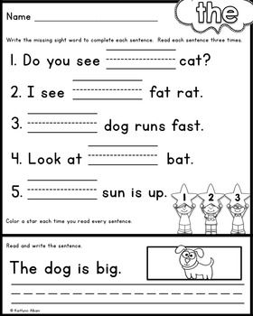Language art worksheets for kindergarten