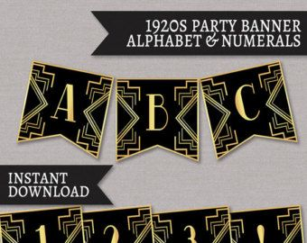 Printable Bunting 1920s theme party decor by YouGrewPrintables                                                                                                                                                     More