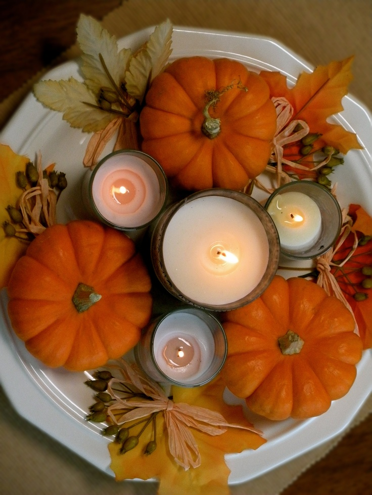pumpkins and candles
