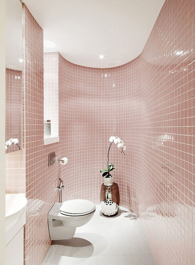 Great example of rose quartz tile used in a modern bathroom. #Pantone 2016…