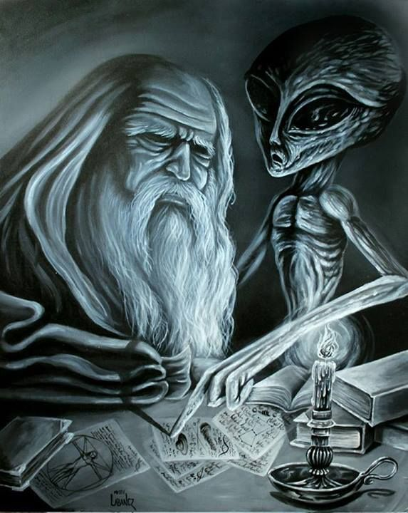 Labanczart - Leonardo da Vinci's secret meetings - acrylic on canvas, 61cm*70cm (2014)