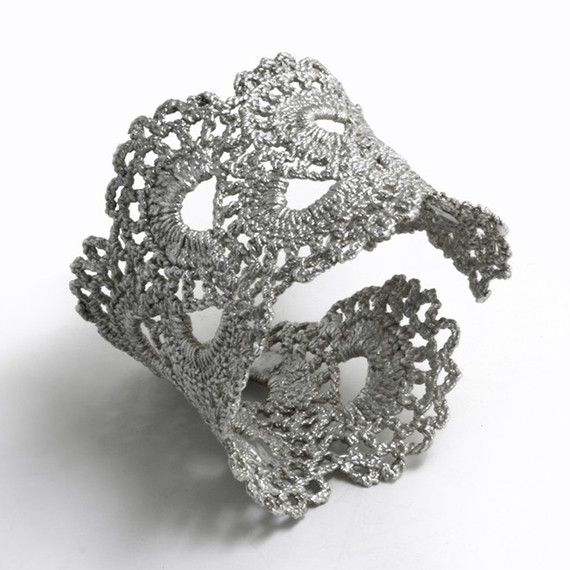Sterling Silver Cast Lace --lovely! I would wear this to death, in a good way.