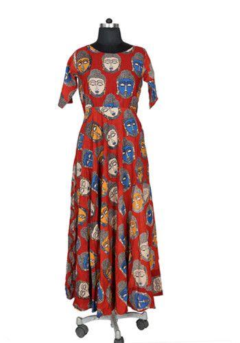 Maroon Kalamkari Dress – Desically Ethnic