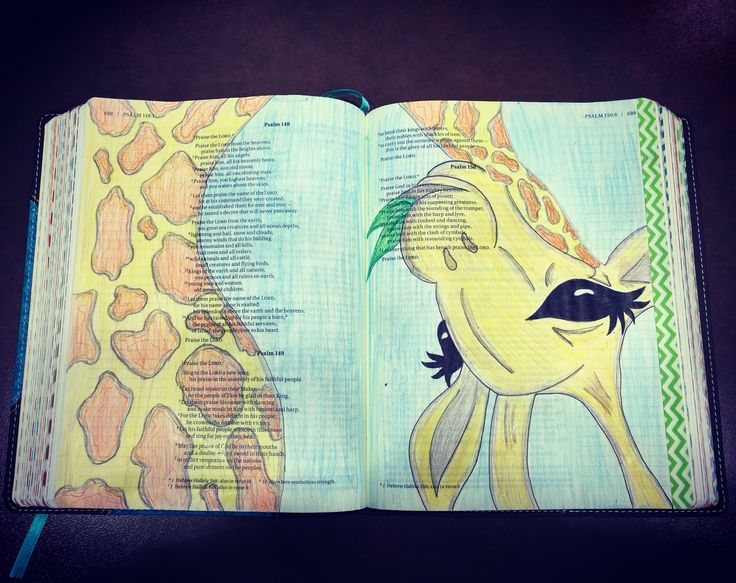 "Today's entry! I've seen the giraffe in so many Bible Journaling posts. She has such a sweet look to her and I had to have her in my bible! The verse I think of when I see this is Psalm 50:6 ""let everything that has breath Praise the Lord!"" I used Sharpie colored pens, Crayola Twistable crayons and colored pencils. #jensjournalingbiblejourney2016"