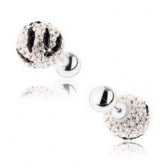 Kétoldalas 925 ezüst fülbevaló, átlátszó és fekete cirkóniák, golyók, zebra minta