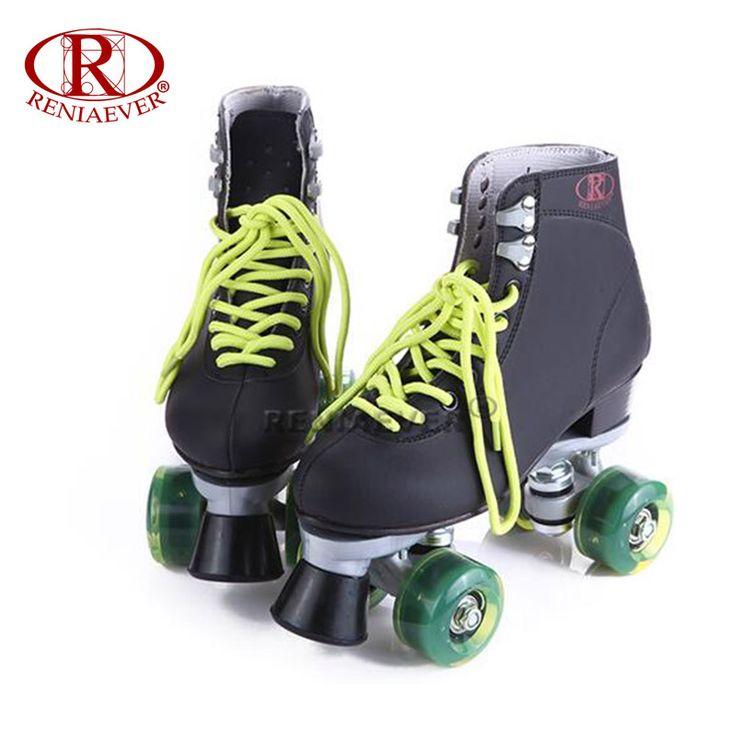 RENIAEVER Roller Skates Double Line Skates Black Women Lady Adult Green Led Lighting 4 Wheels Two line Skating Shoes Patines #Affiliate