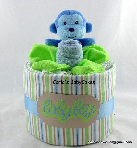 Monkey Diaper Cake Baby Diaper Cake Boy by MsCarlasBabyCakes