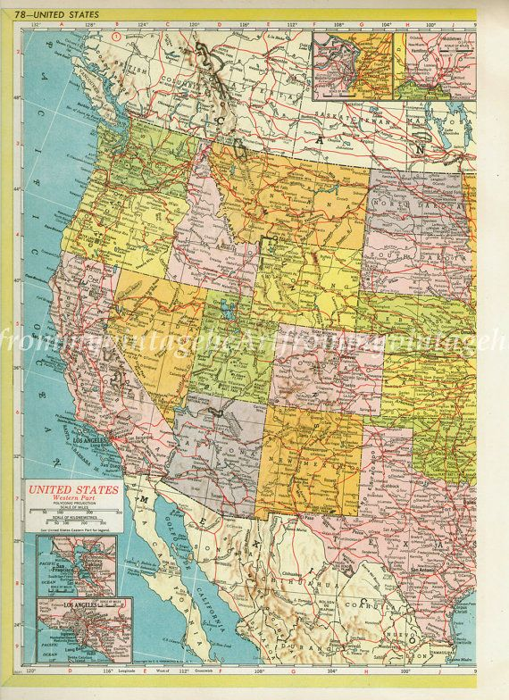 LARGE DETAILED USA Map 1940s Vintage United States Map Map Decor Office Decor Atlas Map