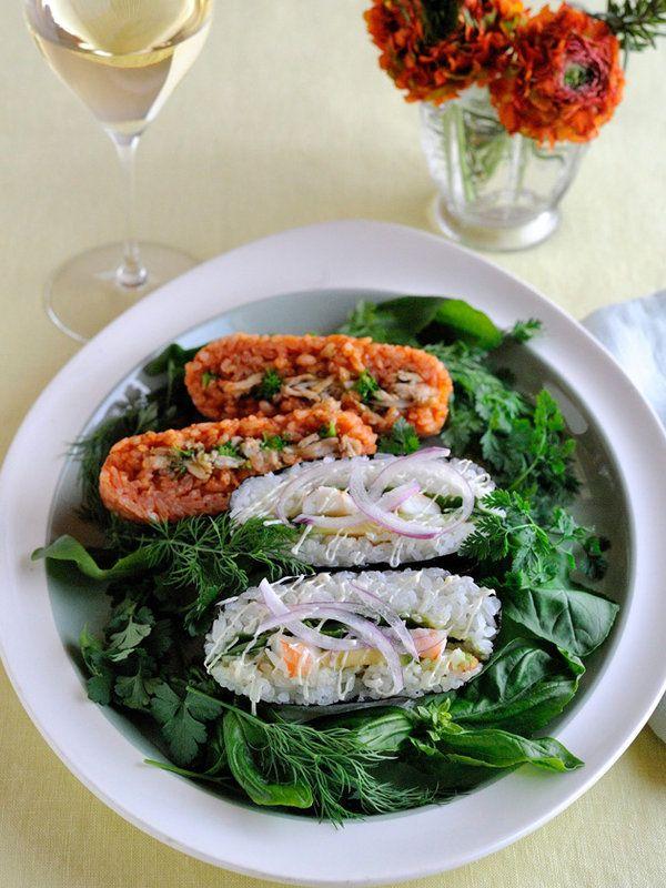 Recipe : 洋風おにぎらず 2種/イタリア風とカリフォルニア風で、おにぎらずがワインおつまみに進化!
