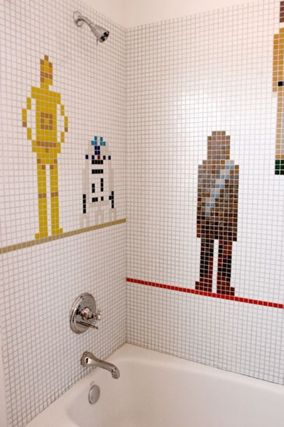Star Wars Shower! Star Wars Shower!! Star Wars Shower!!!Geek, Starswars, Boys Bathroom, Kids Bathroom, Wars Shower, Tile, Star Wars, Stars Wars, Starwars