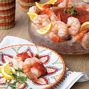 Vodka-Poached Shrimp with Bloody Mary Cocktail Sauce - The Haunted Hostess: Adult Halloween Party Ideas - Page 13 | MyRecipes.com Mobile