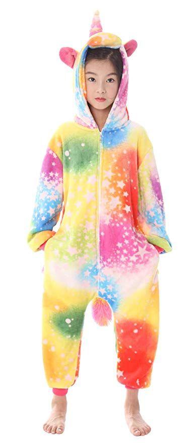 e3e6b96e0e Amazon.com  Olyc Unisex Child Animal Pajamas Onesie Kigurumi One Piece  Pegasus Cosplay Halloween Costume  Clothing