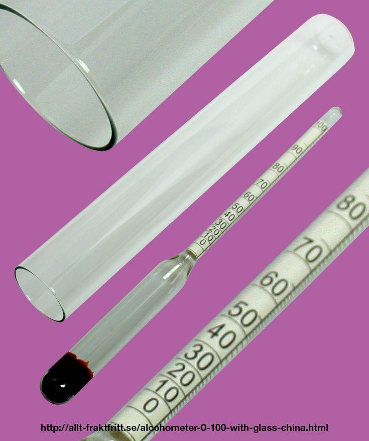Alkoholmätare 0-100% med mätglas, 19 cm lång, Kina. För ungefärlig mätning.