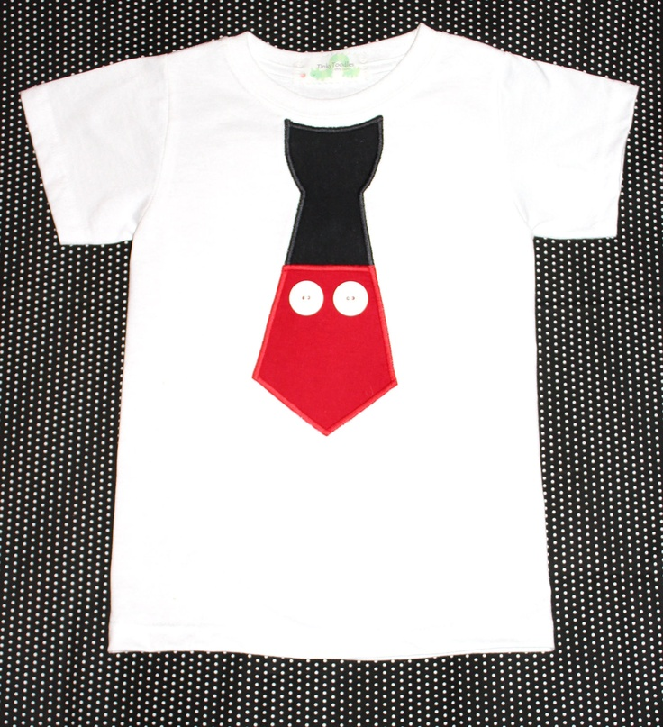 Mickey Mouse Disney Vacation Shirt -Mickey Pants Design as an Appliqued Neck Tie. $20.00, via Etsy.