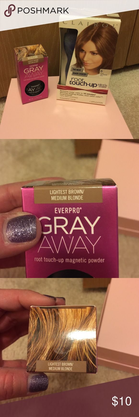 Clairol Root Touch-up and Gray Away Powder Brand New in Boxes. Clairol Root touch-up hair dye in number 6. Matches light brown shades. Everpro Gray Away magnetic touch-up powder in lightest brown/Medium blonde. Other