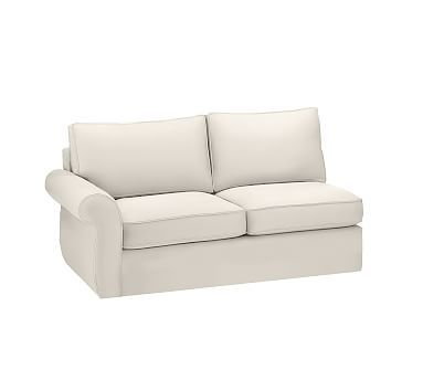 Pearce Slipcovered Left Arm Love Seat, Down Blend Wrapped Cushions, Performance Twill Cream