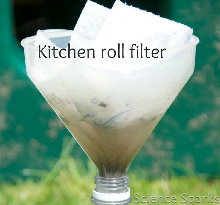 Science Sparks- Cleaning upu Water- looking at filtering- plastic bottle, dirty water, paper towels/coffee filter/muslin, funnel.