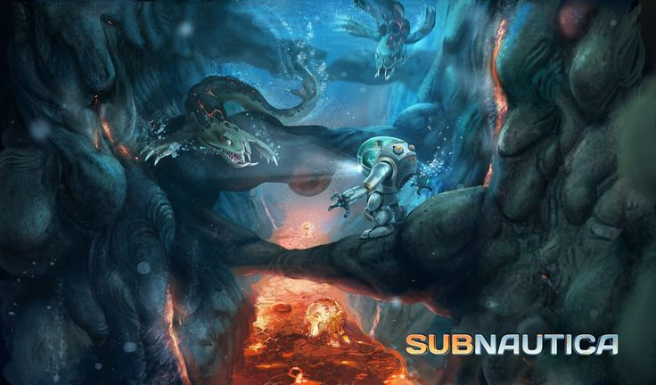 What would you do, faced with gnashing teeth in front and a perilous lava flow below? http://unknownworlds.com/subnautica/subnautica-concept-art-lava-zone-2-2