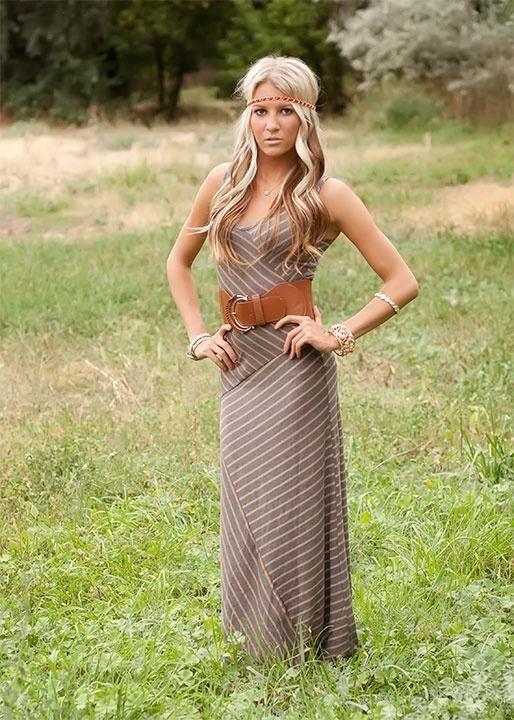 Cute Hair Mocha Striped Maxi Dress