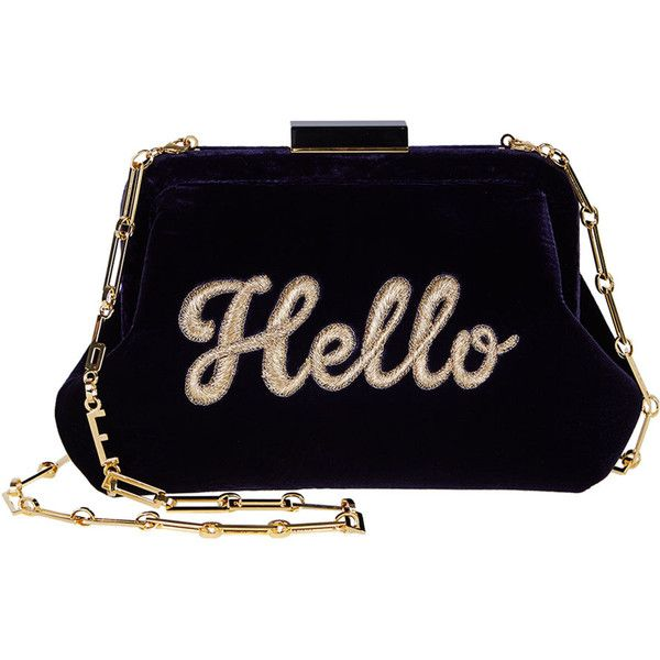Edie Parker Lauren Hello Embroidered Velvet Shoulder Bag ($1,690) ❤ liked on Polyvore featuring bags, handbags, shoulder bags, navy, blue purse, navy blue purse, blue shoulder bag, chain strap purse and chain handle handbags