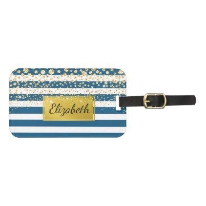 Blue Bold Stripes Gold Glitter Personalized Bag Tag - diy cyo customize create your own #personalize