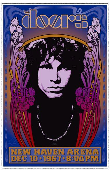 Salas de conciertos. Cartel de una actuación de la banda The Doors en la sala New Haven Arena, Connecticut, 1967. En esta actuación Jim Morrison fue arrestado en el escenario: https://www.youtube.com/watch?v=GNkZn8Q5njo