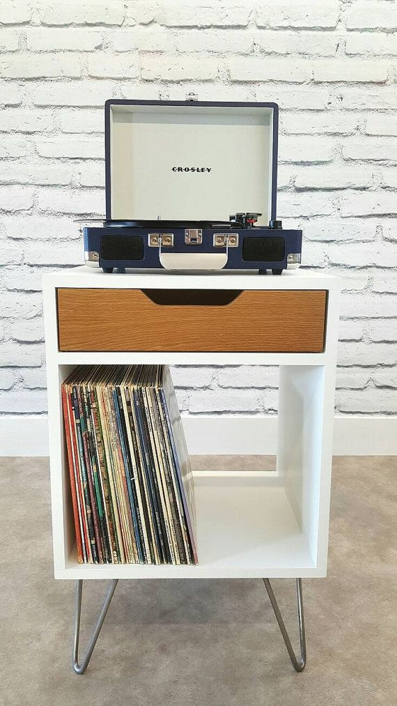 Modern Nightstand, Record Player Stand, Bedside Table, White End Table, Mid  Century