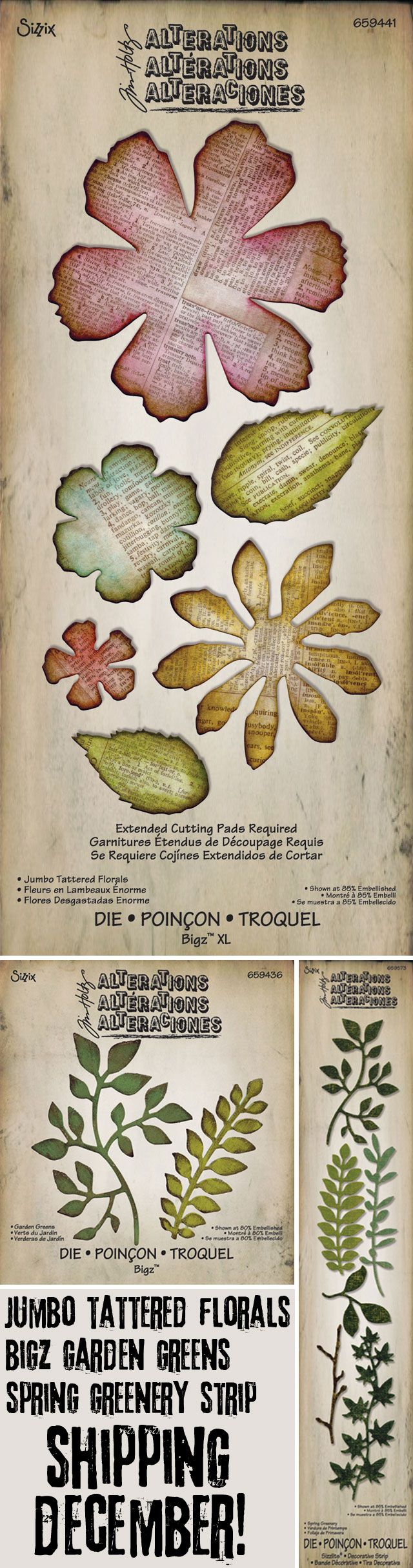 Introducing the new Jumbo Tattered Florals, Garden Greens, and Spring Greenery dies by Tim Holtz for Sizzix!
