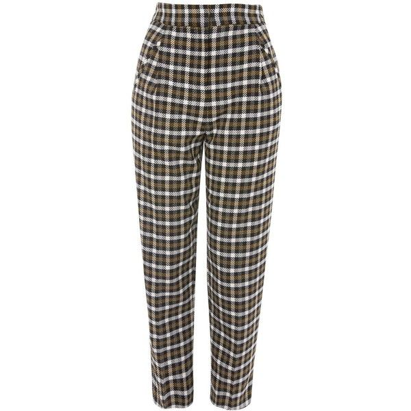 Topshop Checked Peg Trousers ($56) ❤ liked on Polyvore featuring pants, topshop, multi, basic tshirt, formal pants, topshop pants, basic tee shirts and topshop trousers