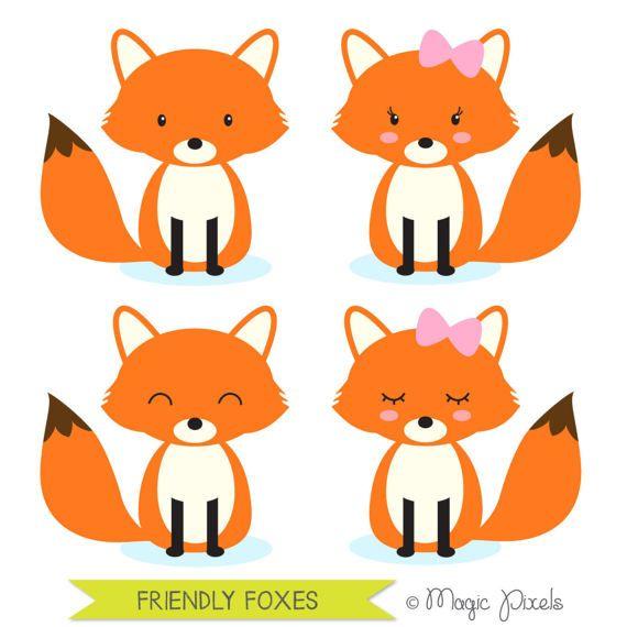 Fox clipart, woodland animals clipart, forest animals ...
