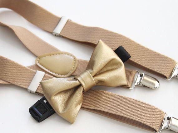 Christmas gold bowtie & beige elastic suspender by bananaribbon