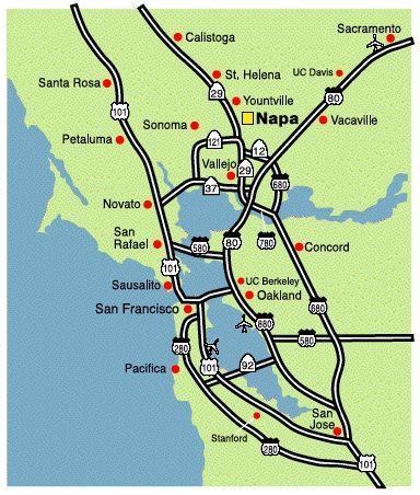 San francisco map napa valley - San francisco tourist information office ...