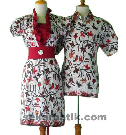 baju batik sarimbit / couple modern putih merah kerah rempel sb35