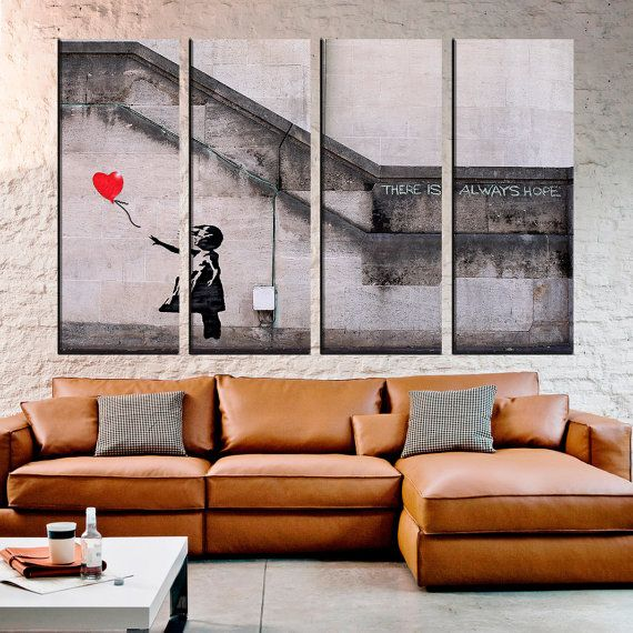 Check out Banksy-Balloon Girl 4 Panel Canvas, Extra Large Wall Art,Graffiti Split Canvas, Multi Panel Canvas, Wall Art Prints,Large Canvas Print on largeartcanvas