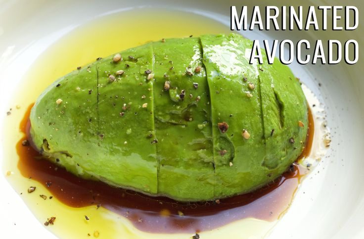 Overnight Marinated Avocado in soy sauce, lemon juice, and olive oil.